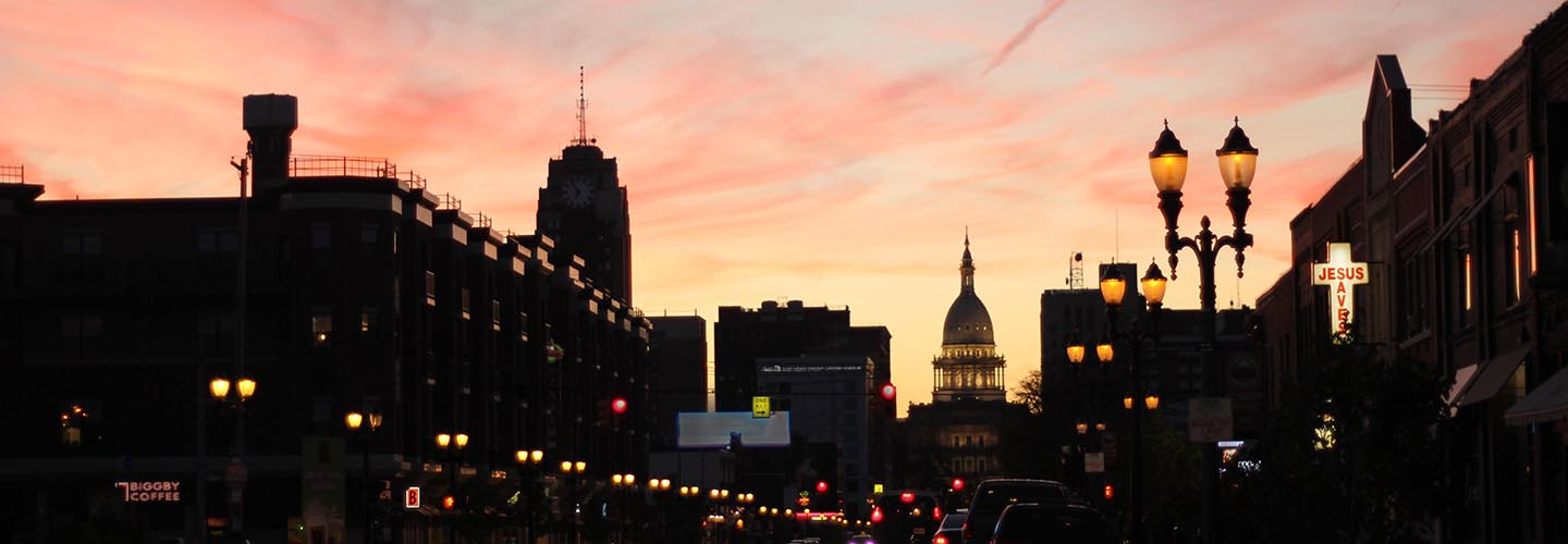 Capitol Building and Michigan Ave at sunset