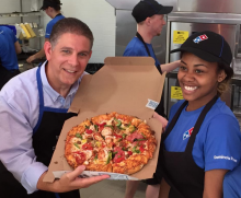 Domino's Pizza Downtown Lansing with Mayor Virg Bernero
